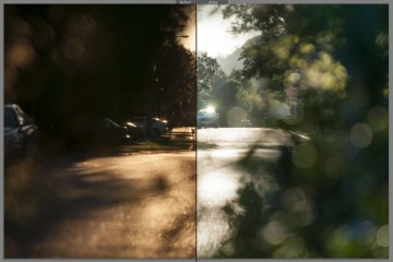 This split view illustrates how a simple change in white balance can affect the perception of a staid scene in the suburbs.