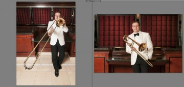 The image on the left was shot with an 11-16mm lens, a super wide angle. The one on the right was shot with a 70-200mm lens, a telephoto. Notice the apparent compression in the right image. The background appears closer to the subject and the trombone slide appears shorter. To get my framing right, I had to walk halfway across the hotel lobby, but by backing up and zooming in, the perspective appears more natural.